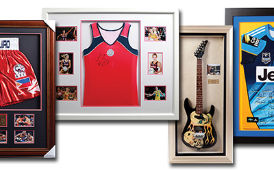 Four memorabilia frame samples