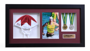 swimming-cap-medals-memorabilia-framing