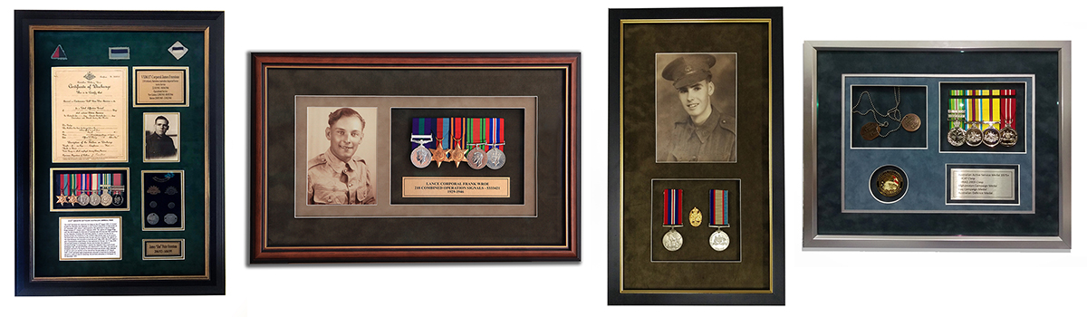 war medal and military framing